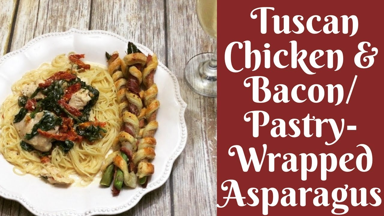 Recipes videos recipes video blog come cook with me tuscan chicken with bacon pastry wrapped asparagus forumfinder Images